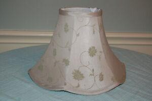 "Tan w Green leaf pattern  Lampshade bell shape w fluted edge "" tall, 12"" diamete"