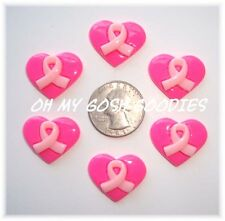 6PC PINK BREAST CANCER RIBBON HEART AWARENESS FLATBACK RESINS 4 HAIRBOW CENTER