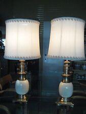Pair of Heavy Stiffel Oriental Ostrich Egg Shape Porcelain Brass Table Lamps