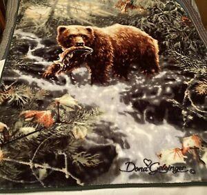 Bear Plush Blanket Throw 50x60 Northwest Dona Gelsinger - Catching Salmon Run