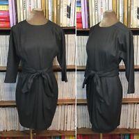 ZARA STUDIO grey wool waist tie dress belt office batwing UK 10-12 US 6-8 M