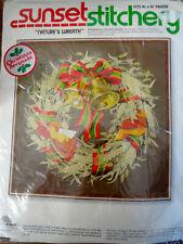 Vtg 1978 Sunset stitchery Nature's Wreath Fall Winter theme kit crewel