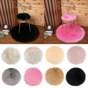Artificial Sheepskin Seat Pads 30cm Round Cushions Floor Area Mats Washable