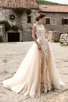 Champagne Mermaid Wedding Dresses Detachable Train Lace Bridal Ball Gowns US2 30