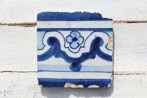 18th Century Antique Portuguese Rocaille Flower Tile