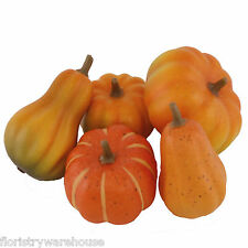 Artificial Pumpkin decoration selection. 5 realistic artificial Pumpkins 7-9cm