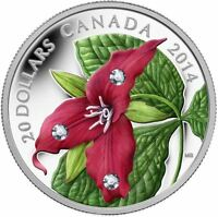 2014 $20 Red Trillium with Crystal Dew Drops - 1 oz .9999% Pure Silver Coin #138