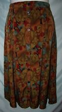 Multicolor Brown Geometric Floral Polyester Long Button Front A-Line Skirt Sz S