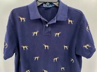 Polo Ralph Lauren Dog Shirt Size Large Blue Custom Fit Embroidered Top Pre-Owned