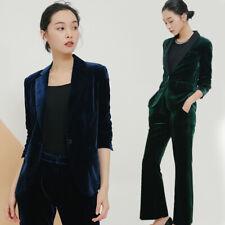 Womens Slim Velvet Blazer Party Prom Casual Jacket Long Pants 2Pcs Suit Business