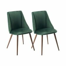 Set of 2 Green Velvet Upholstered Dining Chairs Seat Kitchen Wood Legs RRP £120