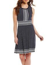 NWT MSRP $98 - MICHAEL KORS Simple Dot Border Dress, True Navy White, Size SMALL