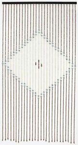 Diamond Brown, Cream & Grey 180 x 90cm Wooden Beaded Bamboo Door Curtain Blind