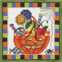 Needlepoint Handpainted Halloween KELLY CLARK October Trick or Treat Basket