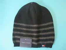 NEW* Tommy Hilfiger BEANIE Cap HAT MENS OSFA S M L XL Black Grey Stripes