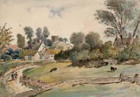 SYRESHAM CHURCH LANDSCAPE Victorian Watercolour Painting 19TH CENTURY