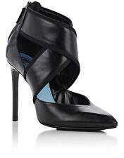 New LANVIN Crisscross-Strap Pumps, Black Leather Heels  Size 35 US 5