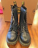 Details about Dr. Martens Women's 1490 Virginia 10 eyelet Black Boots 22524001 Fast Ship L