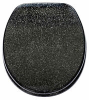 BLACK GLITTER RESIN SPARKLE TOILET BATHROOM SEAT LID WITH CHROME HINGES