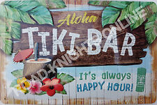 Tiki Bar Hawaiian Rum Cocktails Shots Surf Shack Medium 3D Metal Embossed Sign
