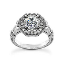 Halo Antique 1.30 Carat VS2/G Round Cut Diamond Engagement Ring White Gold