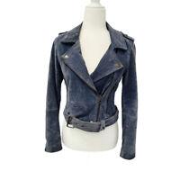 BLANK(NYC) Women's Suede Leather Asymmetrical Moto Jacket Blue XS