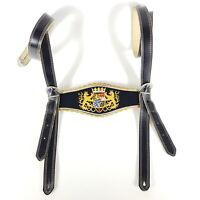 Alte Hosenträger für Lederhose 105 cm Bayern Wappen Bestickt Leder Tracht Antik