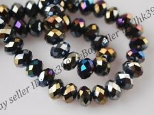 50Pcs Top Quality Black AB Czech Crystal Faceted Rondelle Spacer Beads 6MM