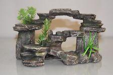 Acuario Ornamento detallada de paso de jardín de rock realista y plantas 22 X 10 X 13 Cm