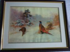 More details for trio of pheasants in a woodland snow scene, mounted & framed print