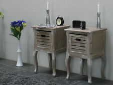 2 Armoire De Nuit Table Chevet Madrid Used Look Lavage Blanc Console D'appoint