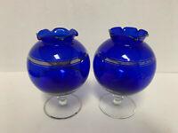Glass Cobalt Blue Sliver Trim Pedestal Vase 2pc set