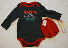 Baby Boy Cherokee Santa Rocks Guitar longsleeve bodysuit & Hat Set 6 Months lot
