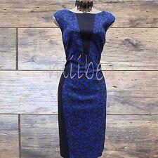 Karen Millen Ponte Roma Jacquard Floral Print Blue Black Wiggle Pencil  Dress 16