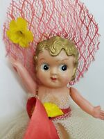 1940 Japan Cute Big Eye Celluloid Jointed Doll Flower Girl Lace Hat Vintage Baby