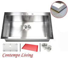 "36"" Single Bowl Zero Radius Topmount Drop In Stainless steel Kitchen Sink Combo"