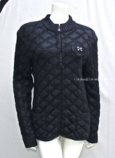 CHANEL  09A NEW $4.5K  CAMELLIA LOGO  EMBROIDERED  BLACK QUILTED JACKET 40-44