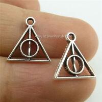 13950 100PCS Vintage Silver Tone Alloy Mini Harry Potter Deathly Hallows Pendant