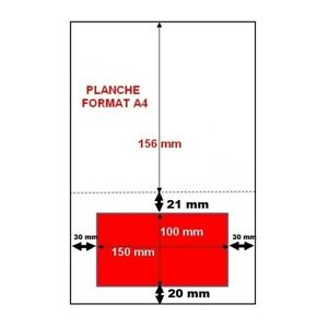 Feuille planche A4 étiquette adhésive intégrée 150 x 100 mm pour envoi COLISSIMO
