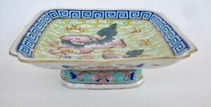 Antique Chinese Square Footed Bowl 1900 Porcelain Enamel Pink Foo Lions Red Seal