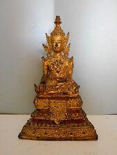 BOUDDHA ANCIEN EN BRONZE DORE.THAILANDE.Rattanakosin.XIX°.