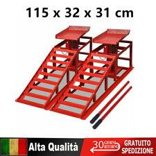 2x Rampe per Sollevamento Auto in Acciaio Rosso Pedane Rialzo Officina
