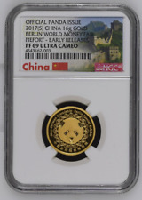 2017 China Piefort 16g Gold Berlin Money Fair Panda Medal NGC PF69UC Mintage 30