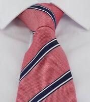 Haddon & Burley Red Stripe Silk & Cotton Tie