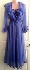 Vtg Movie Star Periwinkle Nylon Peignoir Nightgown Sheer Chiffon Robe Large L