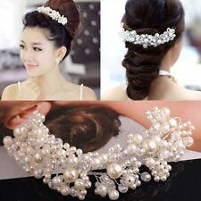 New Women Pearl Flower Crystal Rhinestone Wedding Bridal Headband Clip Hair Band