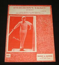 HARRY NILSSON AUSSIE SHEET MUSIC ~ EVERYBODY'S TALKIN 1960s  POP