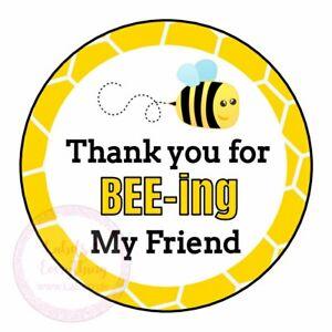 Best Friend Bee School Thank You Great Sweet Cone Sticker Gift Class Leaving