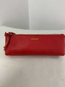 Paul Costello Red Leather Make up Bag/Brushes - Brand new
