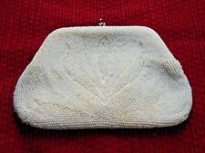 Vintage White Ivory Beaded Clutch Purse Wallet Bag Ladies Accessory